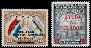 Paraguay Scott B10, B11 (1944, 49) Mint LH VF