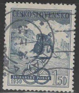 Czechoslovakia Scott 401 Used CTO 1950 Olympic skistamp