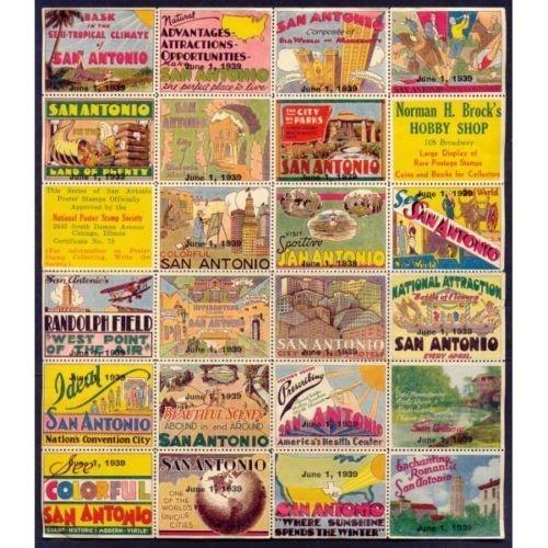 US - Brock's Hobby Shop 1939 San Antonio TX Poster Stamps