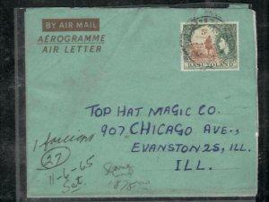 BASUTOLAND COVER (P0506B)1965 QEII 5C AEROGRAM MAFETENG TO USA