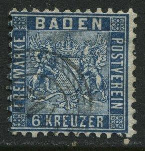 Baden 1861 6 kreuzer prussian blue used