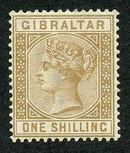 Gibraltar SG14 1/- Bistre M/M Cat 250 pounds