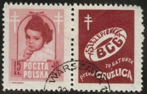 Poland Scott B62 used 1948 TB  stamp with tab