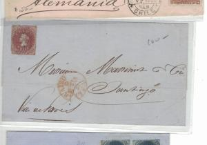 Chile 5c red on 1857 internal cover  (14bep)