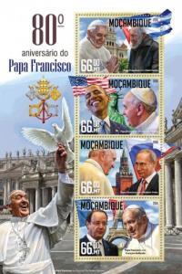 MOZAMBIQUE 2016 SHEET POPE FRANCIS OBAMA FIDEL CASTRO PUTIN HOLLANDE