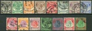 STRAITS SETTLEMENTS-1936-37 Set to $5 Sg 260-274 FINE USED V50206