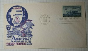 FDC Cachet Craft Cover Staehle Sc# 958 Swedish Pioneers June 4 1948 Chicago ILL