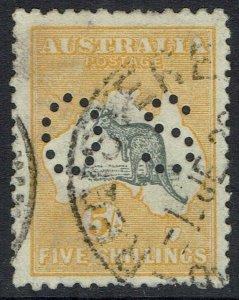 AUSTRALIA 1915 KANGAROO OS 5/- 2ND WMK USED