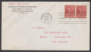 USA 1938 10c John Tyler pair on FDC to New Zealand ex Washington............P996