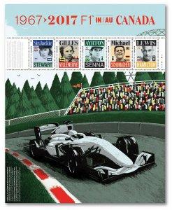FORMULA 1 = F1 = CHAMPION IN CANADA = Minisheet of 5  Canada 2017 #2992 MNH