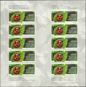 2002 Switzerland #1125, Complete Set, Booklet of 10, Never Hinged