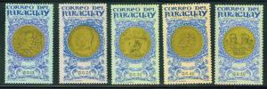 Paraguay 1965 Scott  858-862  MH* regular mail stamps
