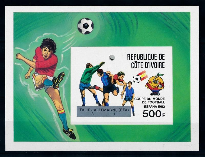 [69403] Ivory Coast 1982 World Cup Football OVP Silver Imperf. Sheet MNH