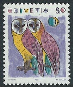 Switzerland Scott 873 MNH! Owls!