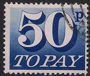 GB 1970 - 75 QE2 50p Ultramarine Postage Due used SG D87 ( R1028 )