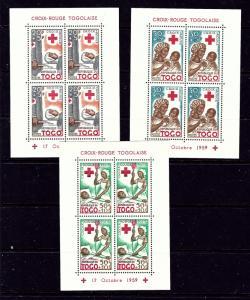 Togo B12a-14a MNH 1959 Red Cross souvenir sheets