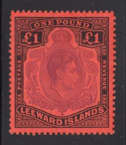 Leeward Islands #115 1 Pound - Black & Violet, Scarlet - O.G. - L.H.
