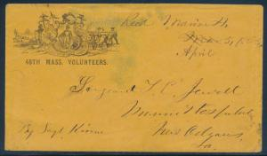 48TH MASS. VOLUNTEERS SOLDIER'S LETTER ON COVER APRIL 1863 W/ ENCLOSURE BU1668