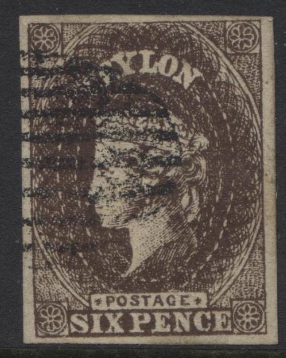 CEYLON -Scott 7 -QV - Definitive Issue -1857 - VFU -Imperforate-Single 6p Stamp