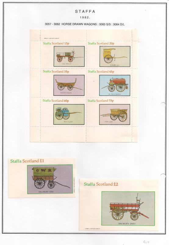 SCOTLAND - STAFFA - 1982 - Horse Drawm Wagons - Perf 6v, Souv, D/L Sheets - MLH