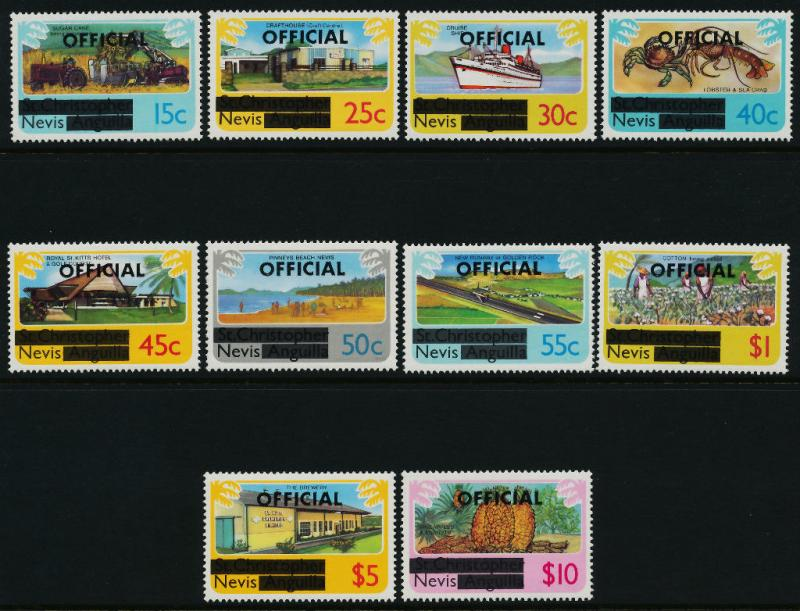 Nevis O1-10 MNH Ship, Agriculture, Lobster, Fruit, Architecture, Aircraft
