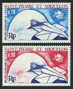 St Pierre & Miquelon 432-433,MNH.Michel 496-497. UPU-100,1974.Bird.