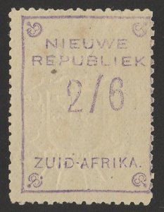 TRANSVAAL - NEW REPUBLIC 1887 2/6 Violet with embossed arms, on yellow paper.
