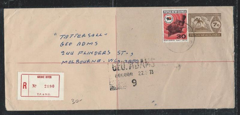 PAPUA NEW GUINEA (P2612B) 1973 7C TREE PSE UPRATED 30C GOLDIE RIVER TO MELBOURNE