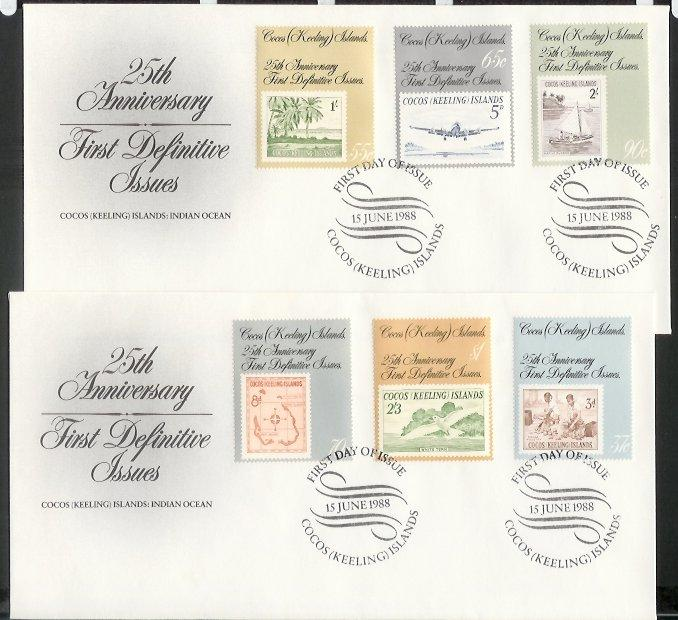 Cocos Is - 1988 25th Anniv of First Cocos (Keeling) Islands Stamps (FDC)