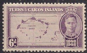 Turks & Caicos 1948 KGV1 6d Violet MM SG 213 ( G1193 )
