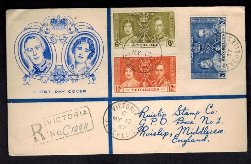 1937 Seychelles First Day cover to England King George  KGVI Coronation Cachet