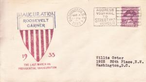 Roosevelt Garner Inaugural Cover 1933 Color Cachet