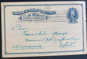 1900s San Jose Costa Rica Postal Stationery Postcard Cover To Erfurt Germany