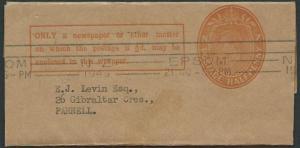 NEW ZEALAND 1949 GVI ½d newspaper wrapper used Epsom roller pmk...........40796