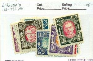 LITHUANIA #116-19C, Mint Never Hinged, Scott $45.00