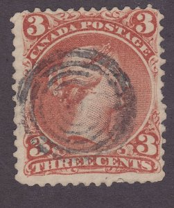 Canada 25 Used 1868 3c Red Queen Victoria F-VF Scv $40.00
