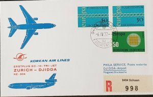 Korean Air Lines 1977 Liechtenstein Zurich Jeddah Europa stamp