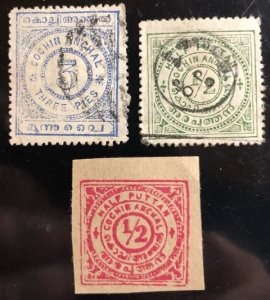 Cochin India Feudatory State Scott#8...31 Group 12 stamps F/VF Cat. $2.40+