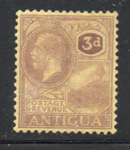 Antigua Sc 51 1925 3d violet on yellow G V St Johns Harbor stamp mint