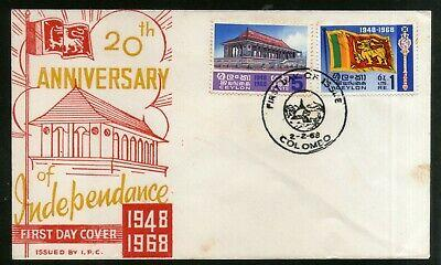 Sri Lanka 1968 Independance Memorial Flags Coat of Arms Sc 413-14 FDC # 5881
