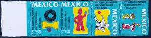 MEXICO 1673a Central American & Caribbean Games, strip & label. MH