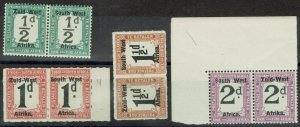 SOUTH WEST AFRICA 1923 POSTAGE DUE 1/2D 1D 11/2D AND 2D SETTING I PAIRS