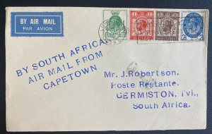 1929 London England Early Airmail Cover to Germinston South Africa