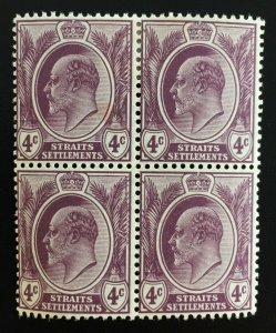 Malaya Straits Settlements 1908 KE VII 4c 4V block MCCA MH SG#155 M1871