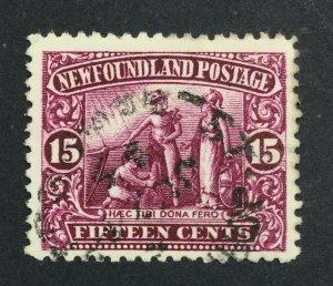 MOMEN: NEWFOUNDLAND #127 1911-16 USED £50 LOT #7012