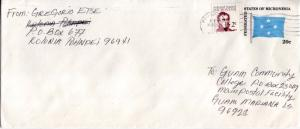 Caroline Islands Micronesia 2c Duperrey on 20c Flag Envelope 1985 Ponape CI, ...