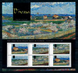 [100086] Grenada 2009 Art Painting Van Gogh Crau with Peach Trees Sheet MNH