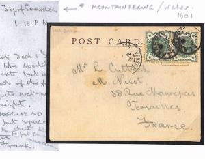 GB WALES Message *Top of Snowdon* MOUNTAINEERING Card 1901 France Cover T199c