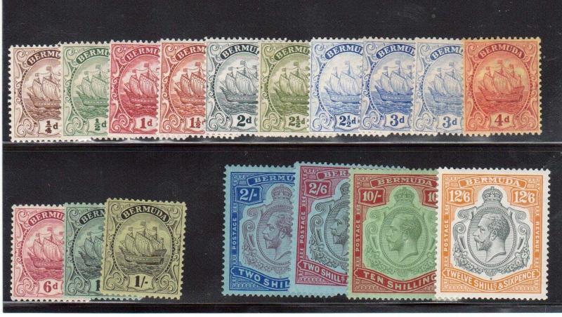 Bermuda #81 - #97 (SG #76b - #93 & #87a) VF Mint Set