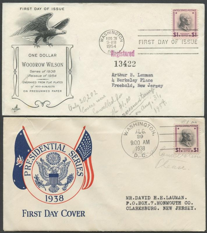 #832 & #832c (2) DIFF. FDC CACHETS  8/29/1954; (1) W/ DRY PRINTING 8/31/54 BS438